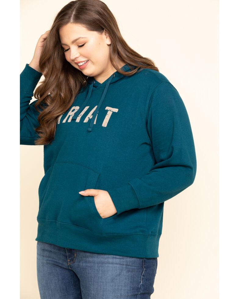 Ariat Women's R.E.A.L. Dream Teal Logo Hoodie - Plus, Teal, hi-res