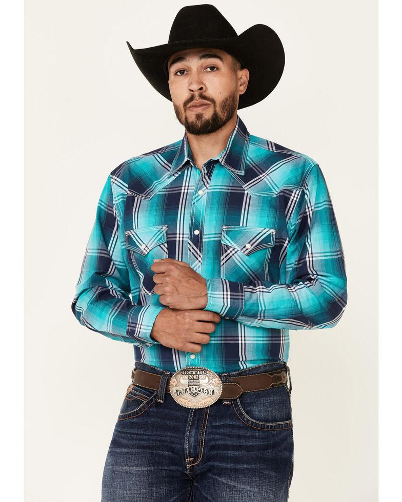 Wrangler 20X Men's Blue Large Plaid Long Sleeve Button-Down Western Shirt , Blue, hi-res
