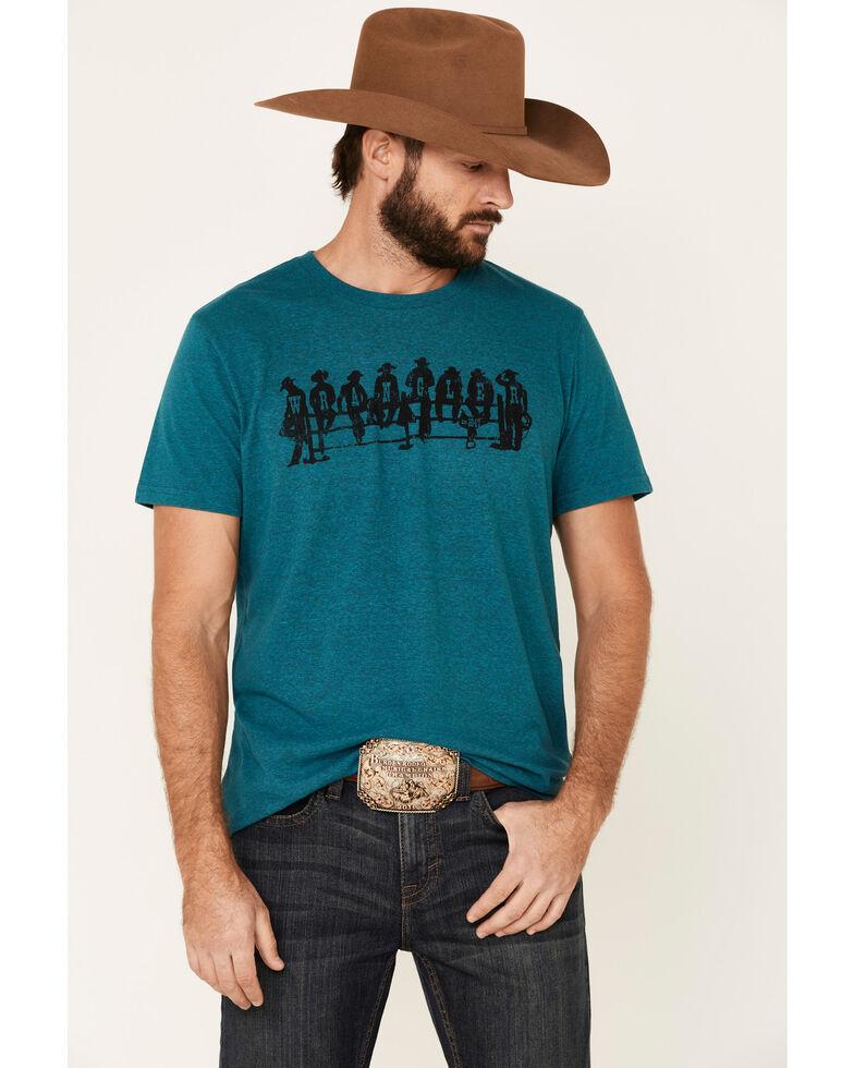 Wrangler Men's Blue Cowboy Lineup Logo Graphic T-Shirt , Blue, hi-res