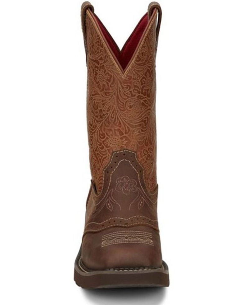 Justin Women's Starlina Western Boots - Wide Square Toe, Brown, hi-res
