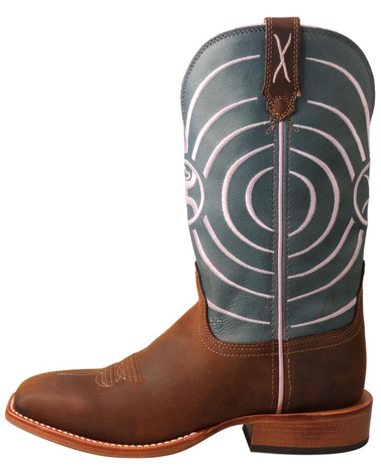 """HOOey Women's 11"""" Dark Brown & Navy Swirl Western Boots - Wide Square Toe, Dark Brown, hi-res"""
