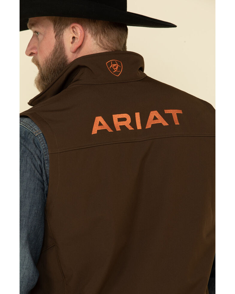 Ariat Men's Dark Brew Logo 2.0 Softshell Vest , Brown, hi-res