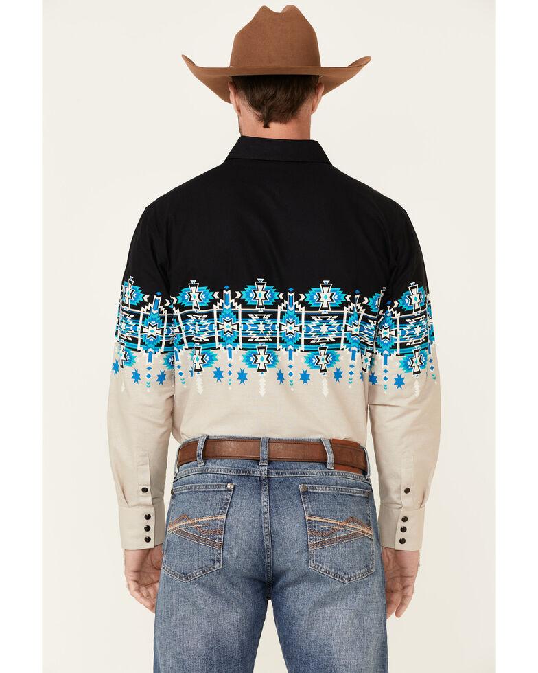 Panhandle Men's Aztec Border Print Long Sleeve Snap Western Shirt , Tan, hi-res