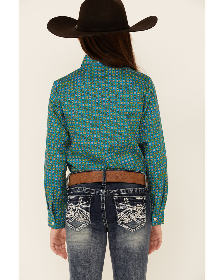 Amarillo Girls' Sweet Water Teal Foulard Geo Print Long Sleeve Western Shirt , Teal, hi-res
