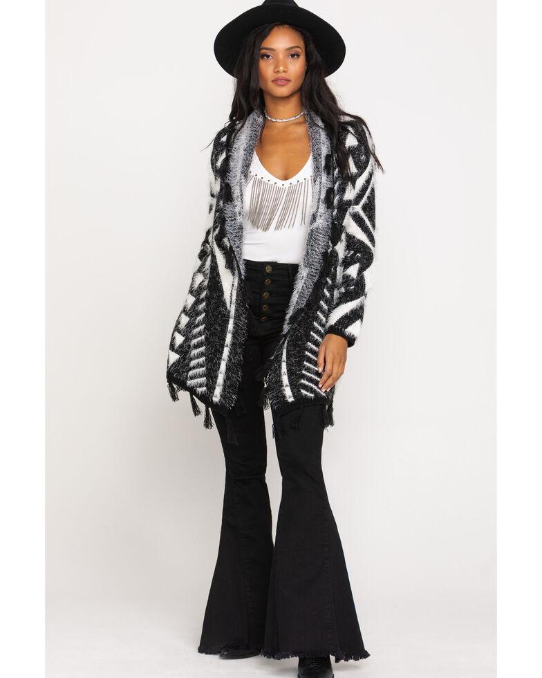 Shyanne Women's Black Aztec Eyelash Sweater , Black, hi-res