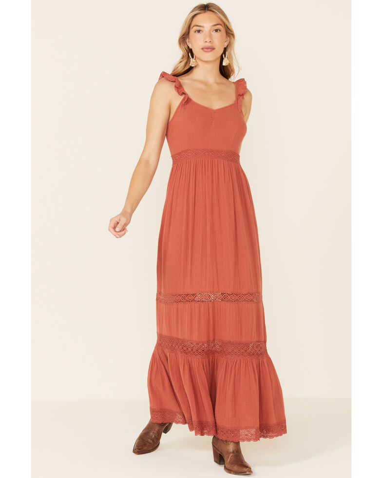 Patrons of Peace Women's Ruffle Strap Rhea Maxi Dress, Rust Copper, hi-res