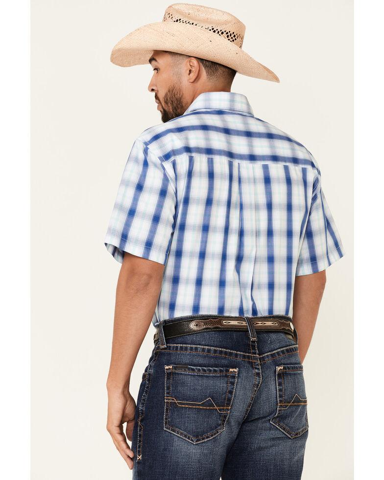 Wrangler Men's Blue Classic Large Plaid Button-Down Western Shirt , Blue, hi-res