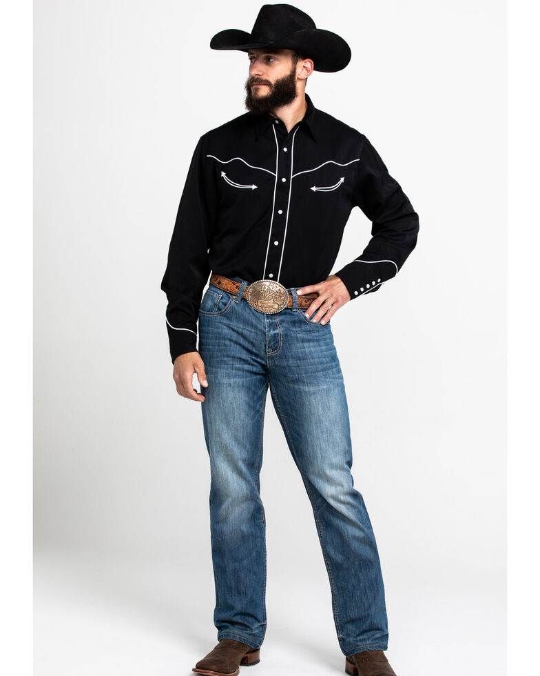 Roper Men's Americana Collection Embroidered Skull Long Sleeve Western Shirt, Black, hi-res