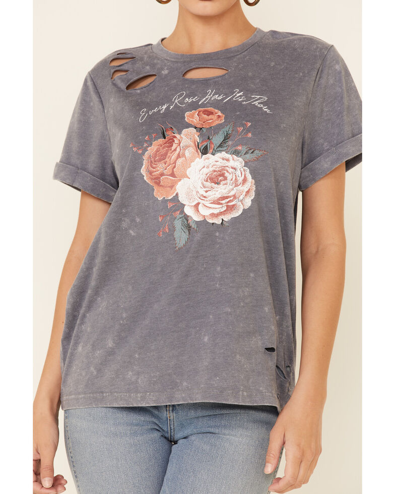 Cut & Paste Women's Every Rose Has It's Thorn Graphic Short Sleeve Distressed Tee , Charcoal, hi-res