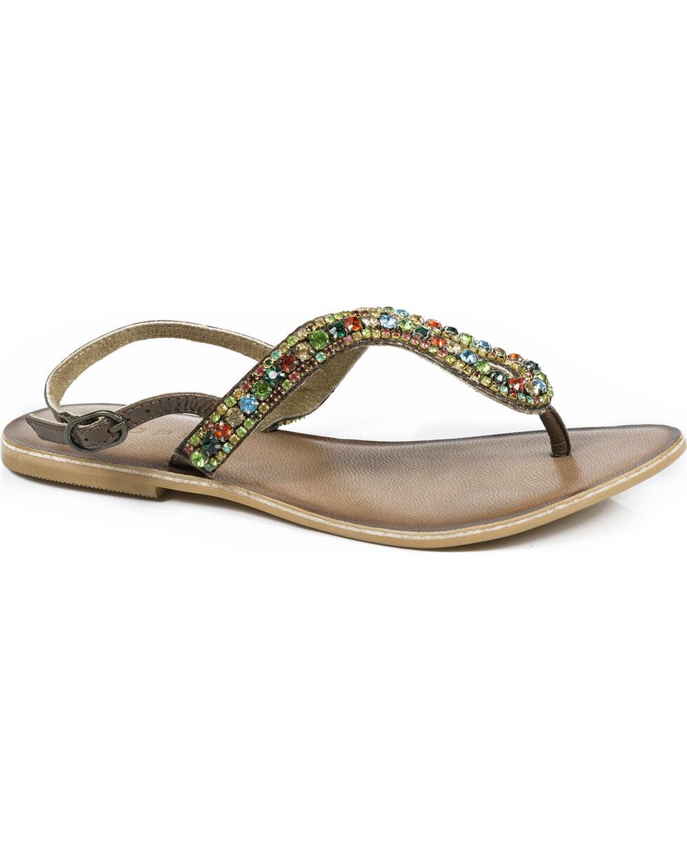 Roper Women's Color Crystal Leather Thong Sandals , Brown, hi-res
