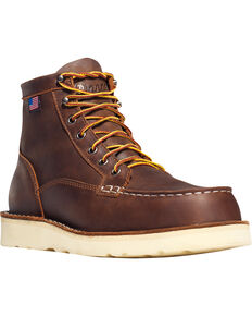 """Danner Men's Bull Run Moc Toe 6"""" Work Boots - Steel Toe , Brown, hi-res"""