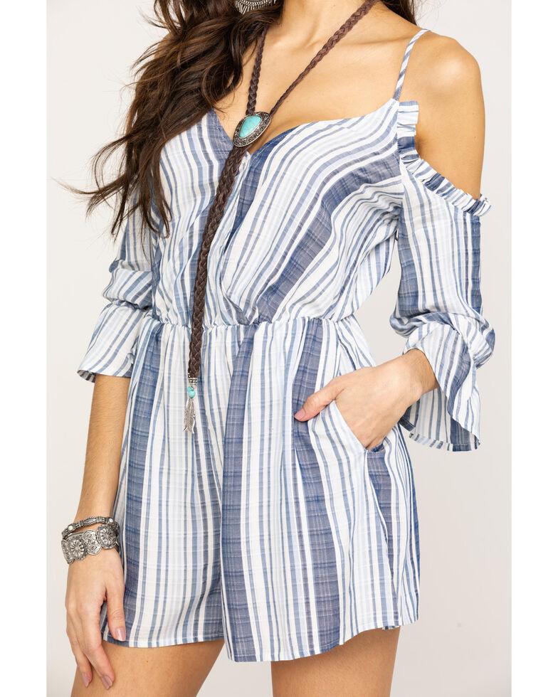 Shyanne Women's Blue Stripe Cold Shoulder Romper, Blue, hi-res