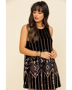 Miss Me Women's Black Velvet Sequin Tank Dress, Black, hi-res