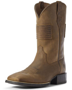 Ariat Men's Sport Patriot II American Flag Western Boots - Wide Square Toe, Brown, hi-res
