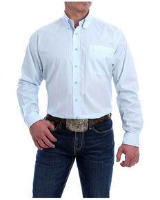 Cinch Men's Light Blue Diamond Geo Print Long Sleeve Button-Down Western Shirt - Big , Light Blue, hi-res
