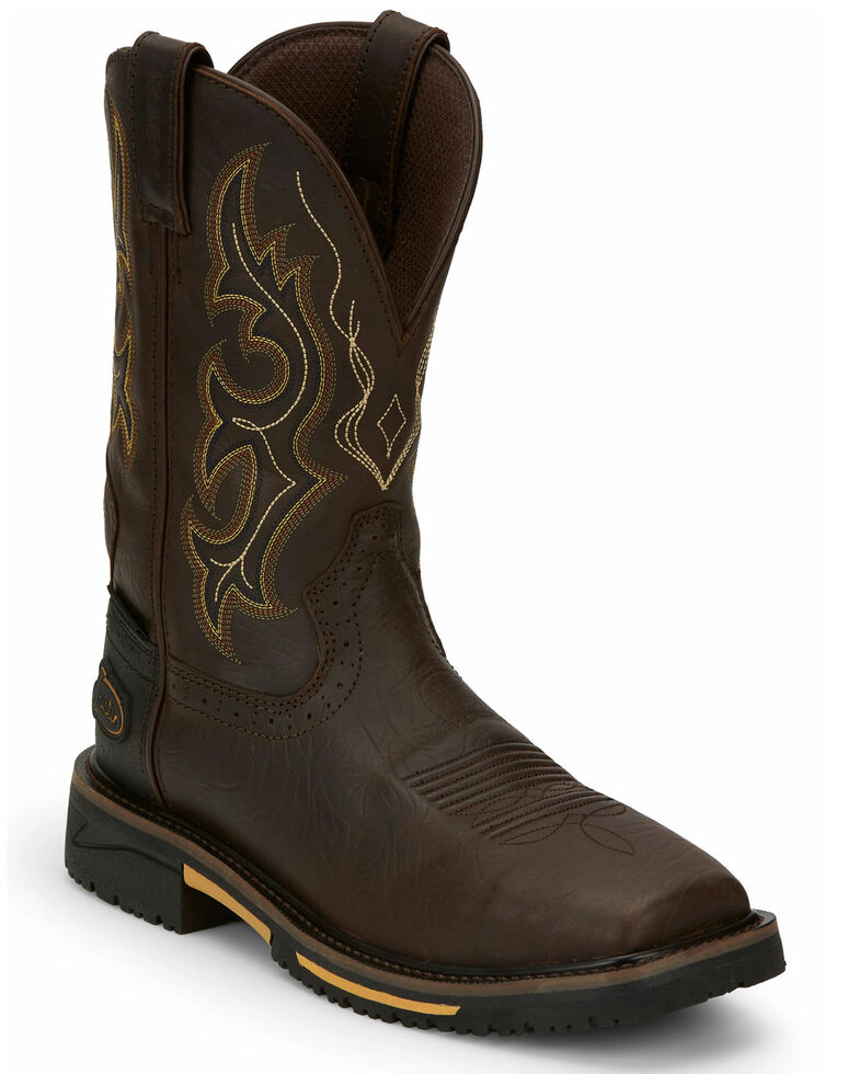 Justin Men's Joist Waterproof Western Work Boots - Soft Toe, Distressed Brown, hi-res