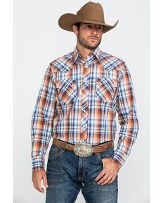 Roper Men's West Made Meadow Plaid Long Sleeve Western Shirt , Brown, hi-res