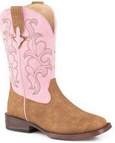 Roper Girls' Blaze Western Boots - Square Toe, Tan, hi-res