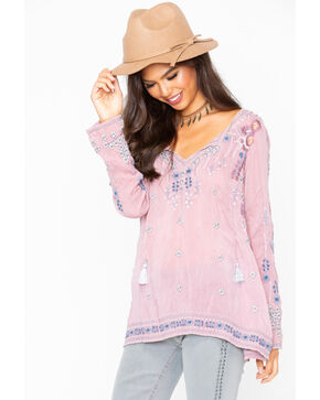 Johnny Was Women's Santorini Blouse , Mauve, hi-res