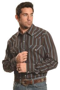 Garth Brooks Sevens by Cinch Men's Brown Dobby Stripe Western Shirt , Brown, hi-res