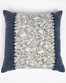 BB Ranch Denim Whipstitch Pillow, Blue, hi-res
