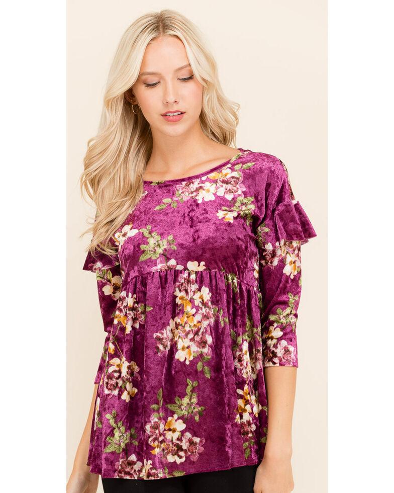 Ces Femme Women's Floral Velvet Top, Burgundy, hi-res