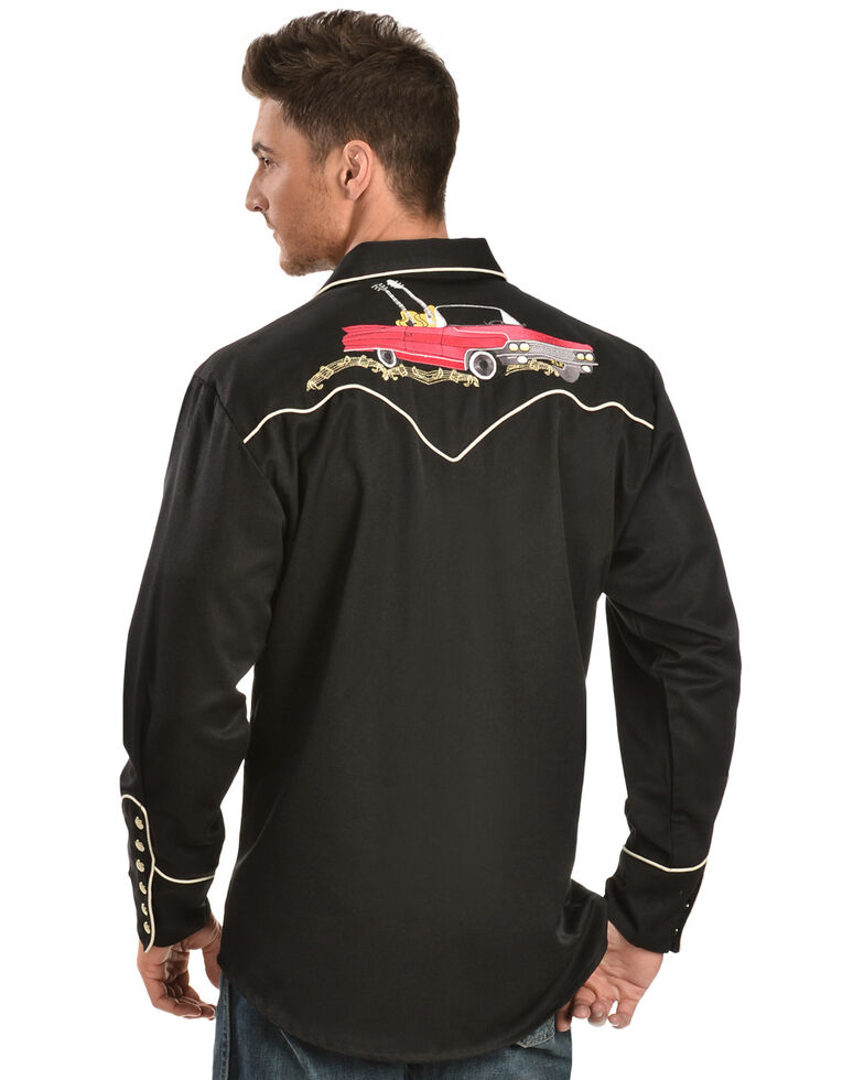 Scully Men's Black Rock 'N Roll Embroidered Retro Long Sleeve Western Shirt, Black, hi-res