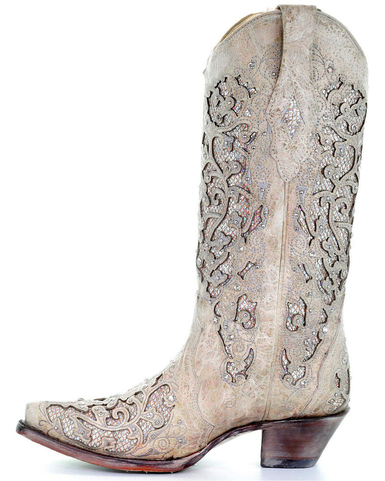 a55d7548eddc Zoomed Image Corral Women's Glitter Inlay and Crystals Wedding Boots - Snip  Toe, White, hi-