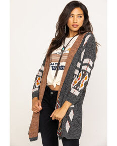 Shyanne Women's Hooded Aztec Over-sized Cardigan, Black, hi-res