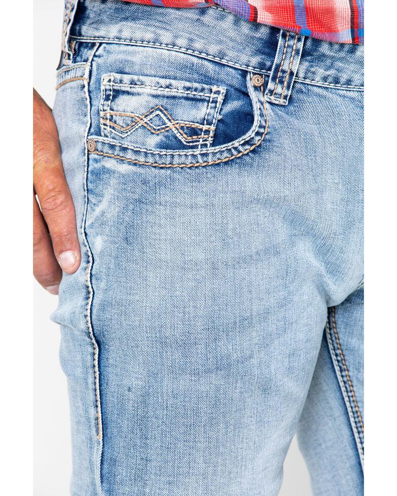 Rock & Roll Cowboy Men's Abstract Reflex Pistol Straight Jeans , Blue, hi-res