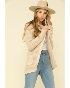 Rock & Roll Cowgirl Women's Hoodie Braided Cable Knit Cardigan , Natural, hi-res