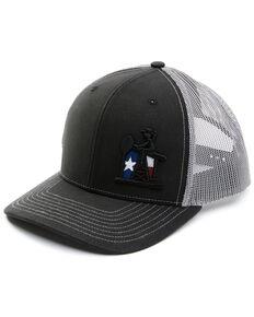 Oil Field Hats Black & Grey Texas PJ Cowboy Embroidered Mesh-Back Ball Cap , Black, hi-res