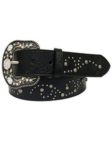 Roper Women's Black Floral Embossed Stud & Rhinestone Belt, Black, hi-res
