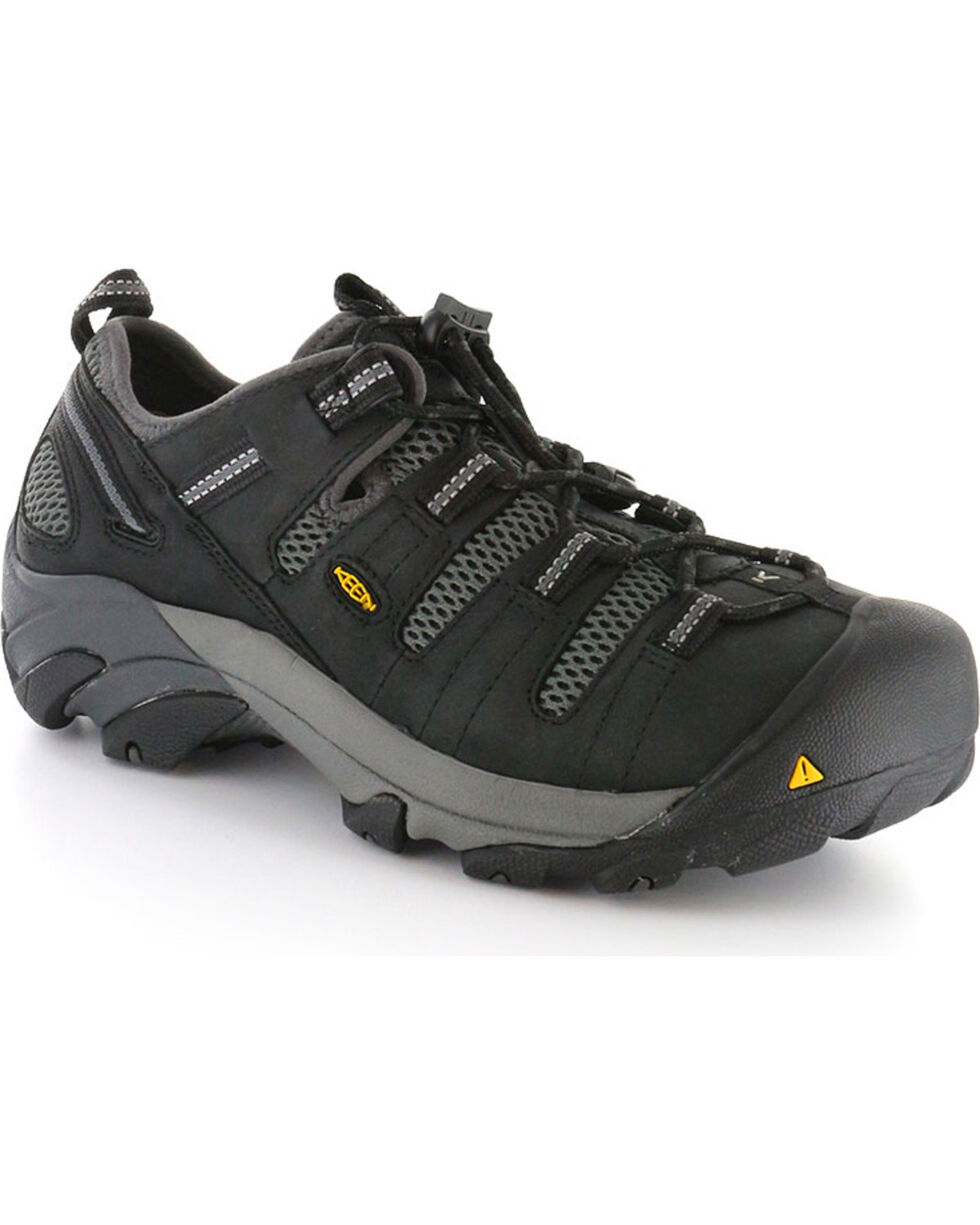 Keen Men's Black Utility Atlanta Cool Work Shoes - Steel Toe , Black, hi-res