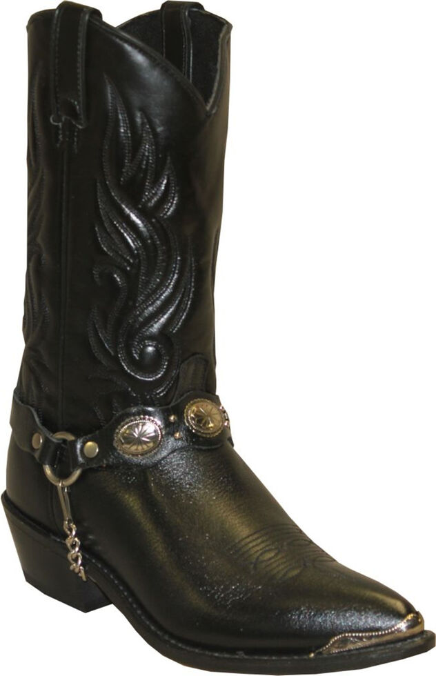 Sage by Abilene Men's Black with Concho Strap Western Boots, Black, hi-res