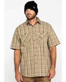 Ariat Men's Tan Plaid Rebar Made Tough Short Sleeve Work Shirt - Tall , Beige/khaki, hi-res