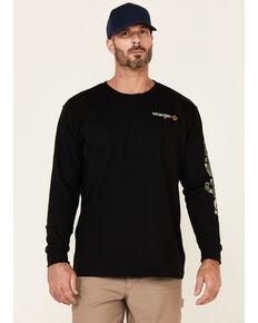 Wrangler FR Men's Black Camo Logo Long Sleeve Work T-Shirt , Black, hi-res