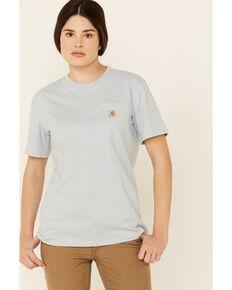 Carhartt Women's Pocket Short Sleeve Work T-Shirt , Light Blue, hi-res