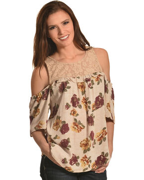 Eyeshadow Women's Taupe Crochet Yoke Floral Blouse , Taupe, hi-res