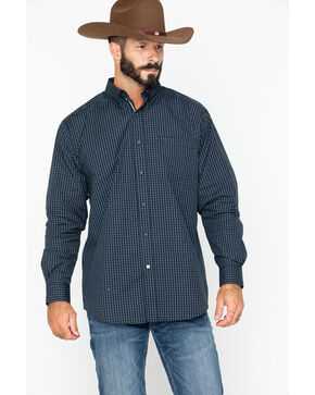 Ariat Men's Curtis Small Plaid Long Sleeve Western Shirt , Black, hi-res
