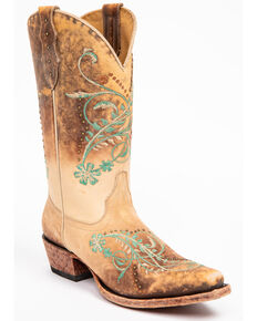 Shyanne Women's Maresias Beige Western Boots - Snip Toe, Brown, hi-res