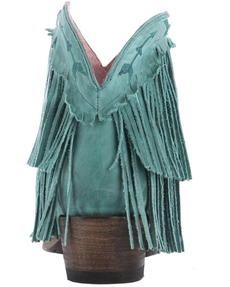 Junk Gypsy by Lane Women's Spitfire Mustard Fringe Booties - Snip Toe, Turquoise, hi-res
