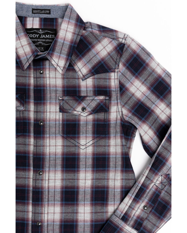 Cody James Boys' Plainsman Heathered Plaid Long Sleeve Western Shirt , Grey, hi-res