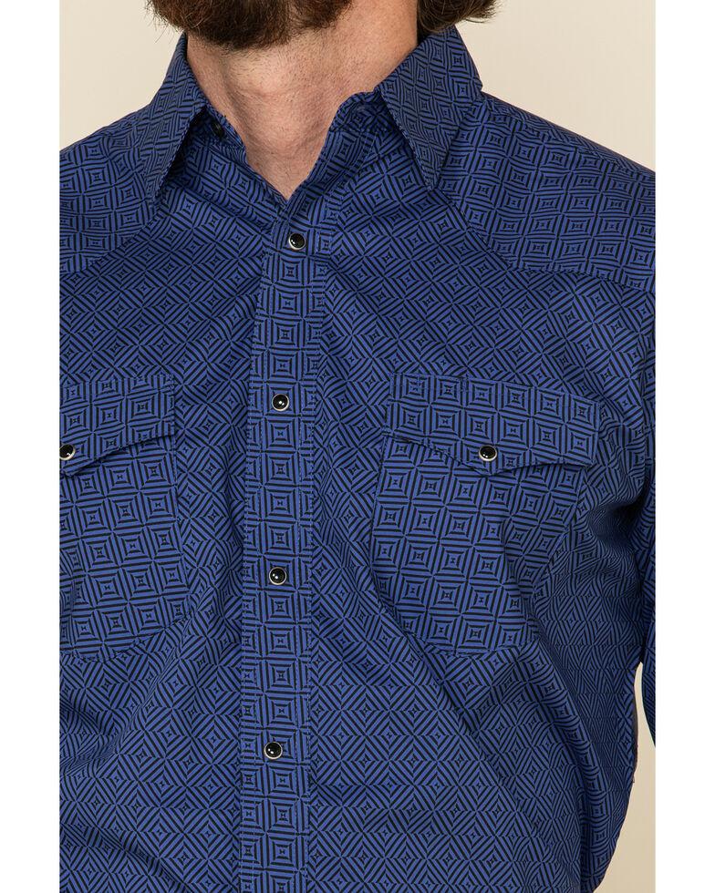 Wrangler Silver Edition Men's Blue Diamond Geo Print Long Sleeve Western Shirt , Blue, hi-res