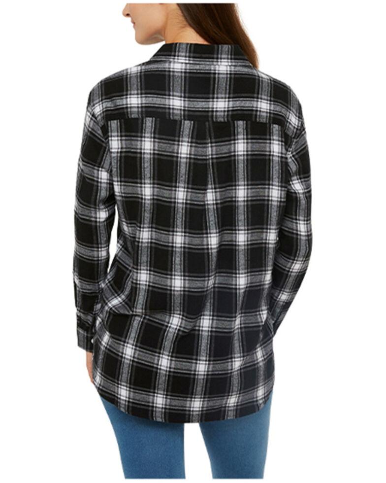 Ely Walker Women's Plaid Long Sleeve Western Flannel Shirt , Black, hi-res