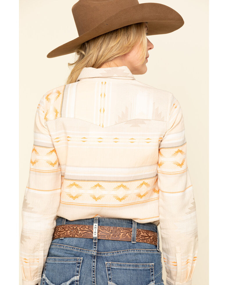 Shyanne Life Women's Blush Aztec Core Western Long Sleeve Western Shirt, Ivory, hi-res