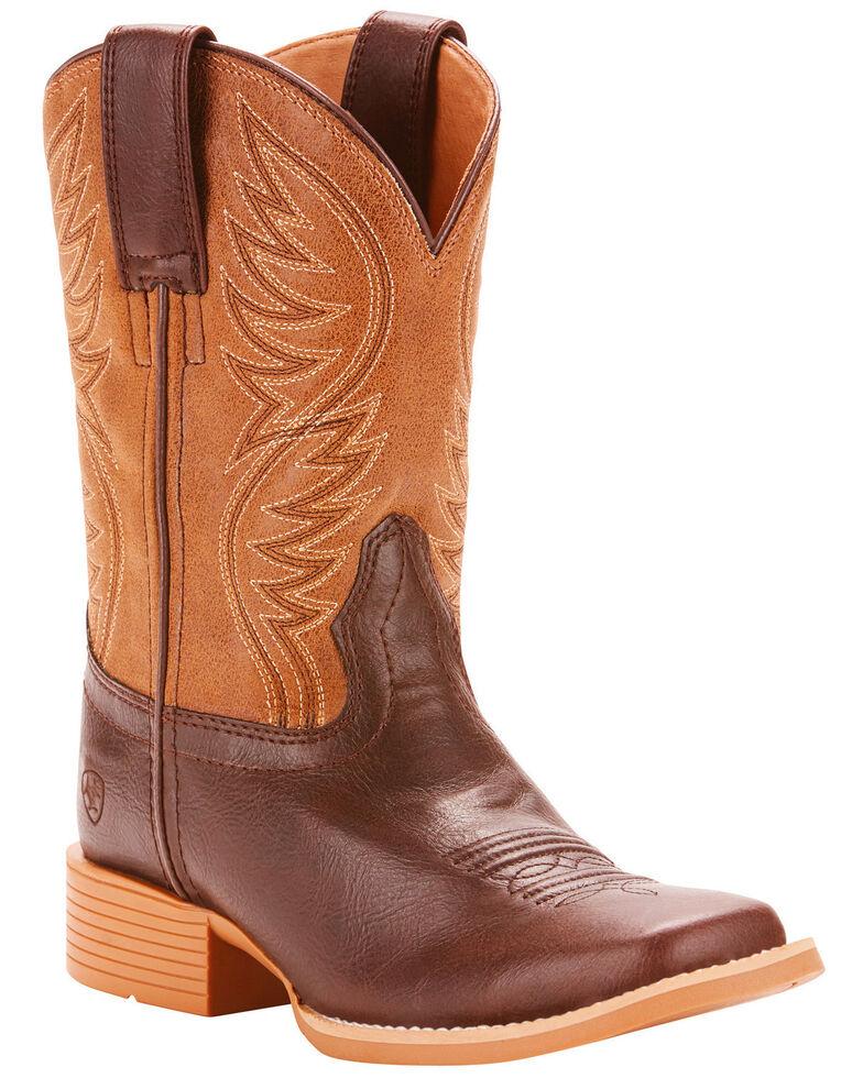 Ariat Girls' Brumby Fudgesickle Tumblin Tan Cowgirl Boots - Square Toe, Brown, hi-res