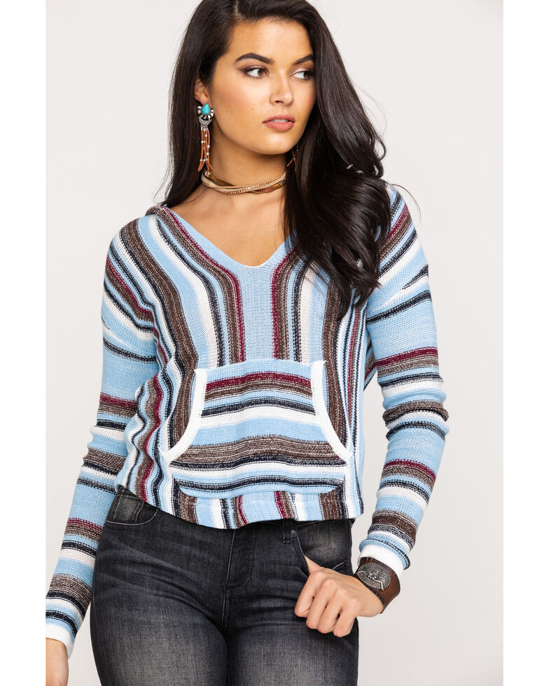 Rock & Roll Cowgirl Women's Knit Stripe Pullover Hoodie, Blue, hi-res