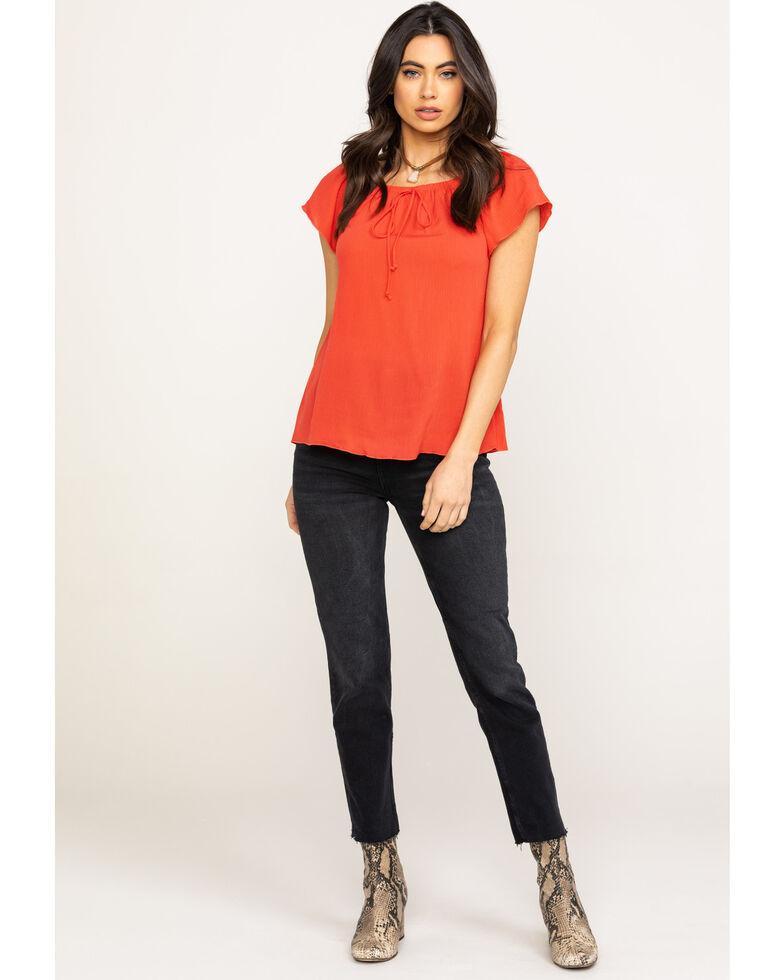White Label by Panhandle Women's Dark Coral Crinkle Short Sleeve Peasant Top, Coral, hi-res