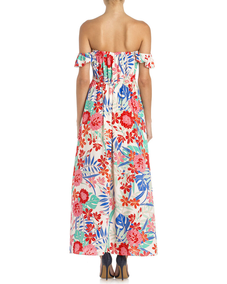 Miss Me Women's Floral Ruffle Sleeve Maxi Dress, White, hi-res